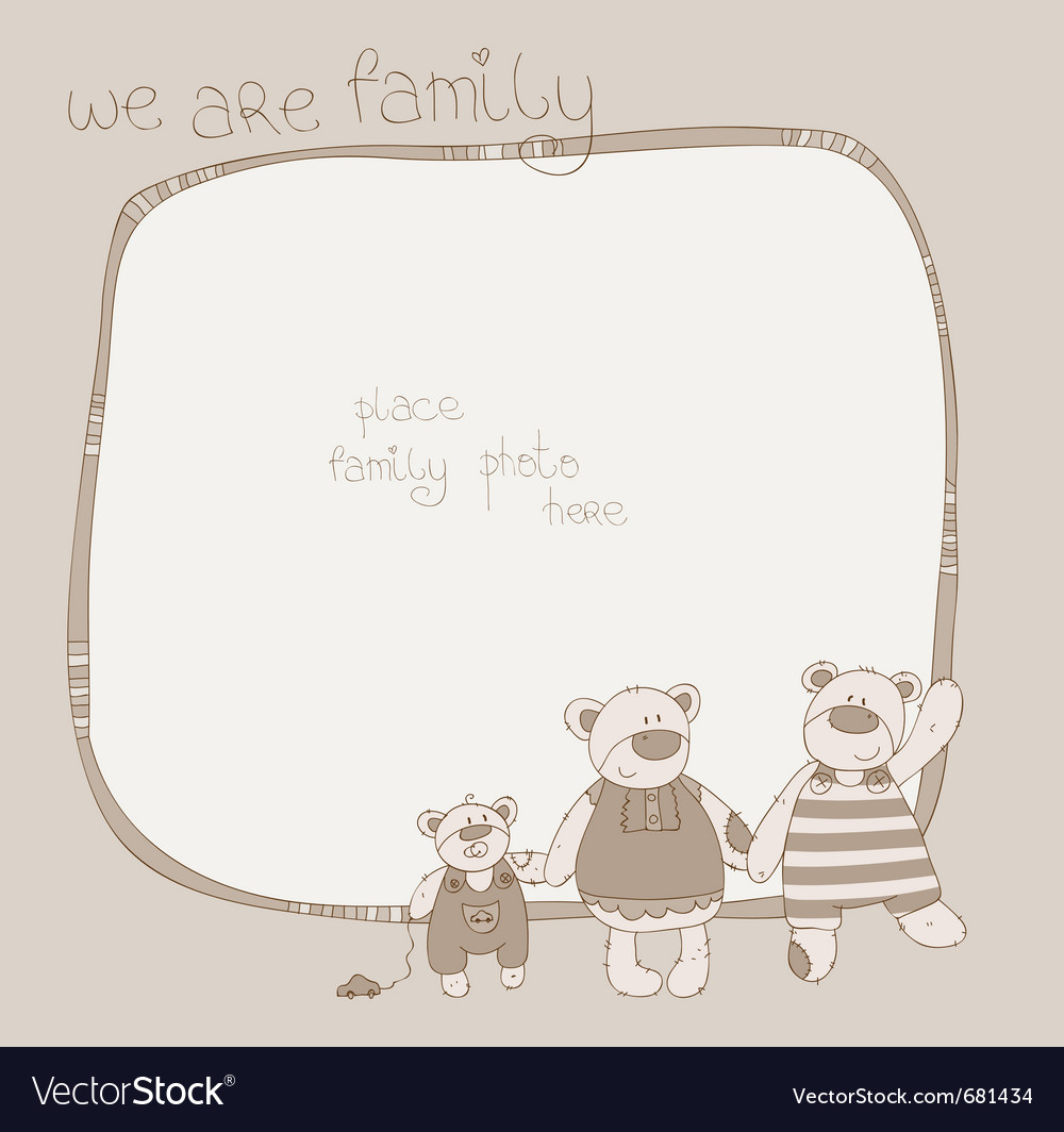 Bear family photo frame Vector Image