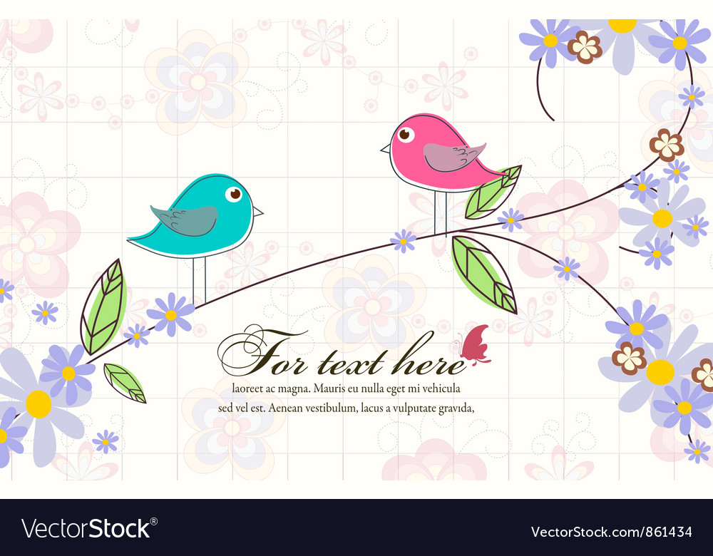 Birds with floral vector image