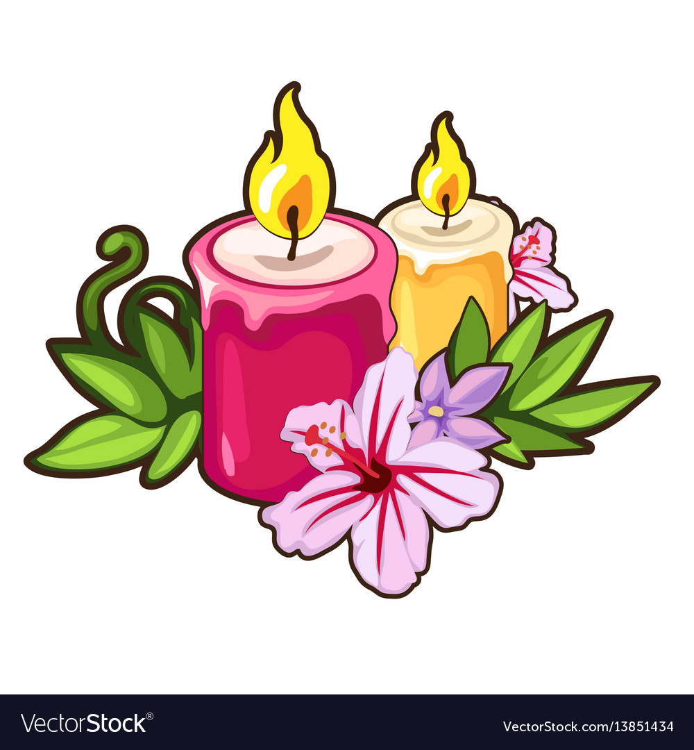 Burning candles with flowers holiday concept vector image