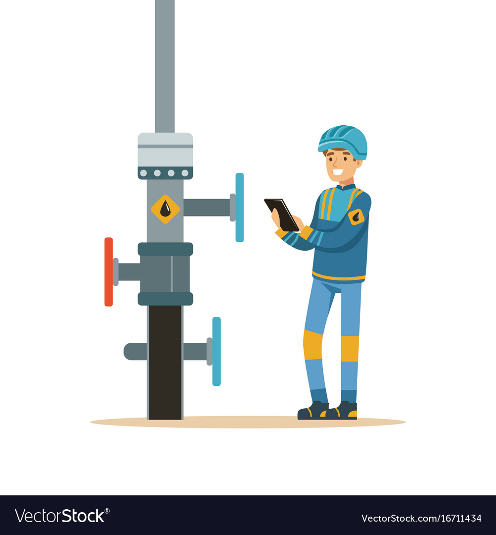 Oilman inspecting an oil pipeline oil industry vector image