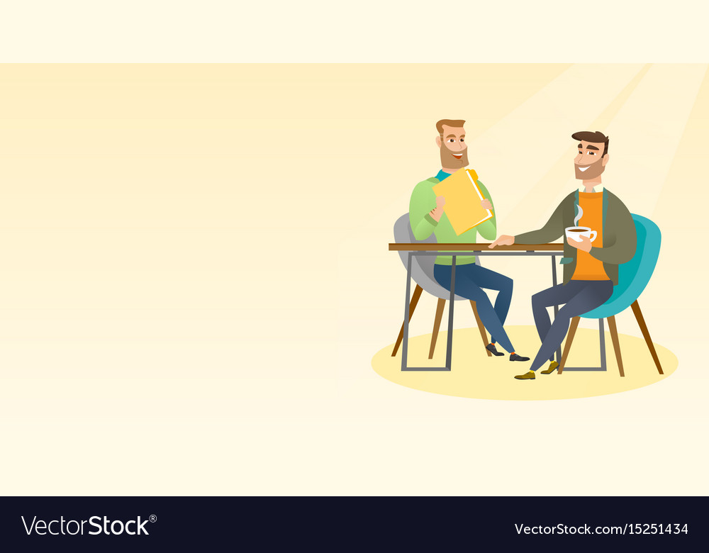 Two businessmen during business meeting vector image