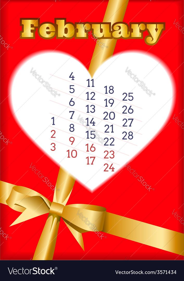 Valentine calendar for February 2013 vector image