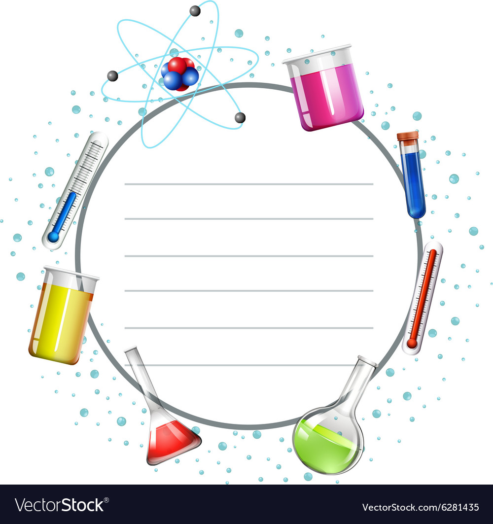 Science Design Project: Border Design With Science Equipments Royalty Free Vector