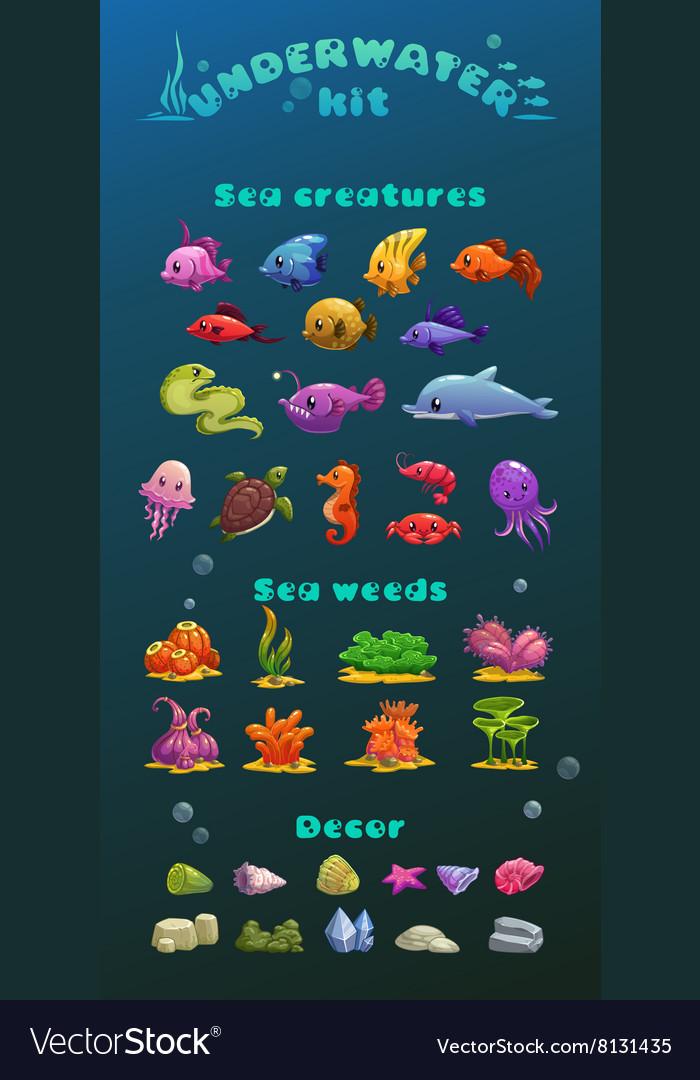 Cute cartoon underwater icons set vector image