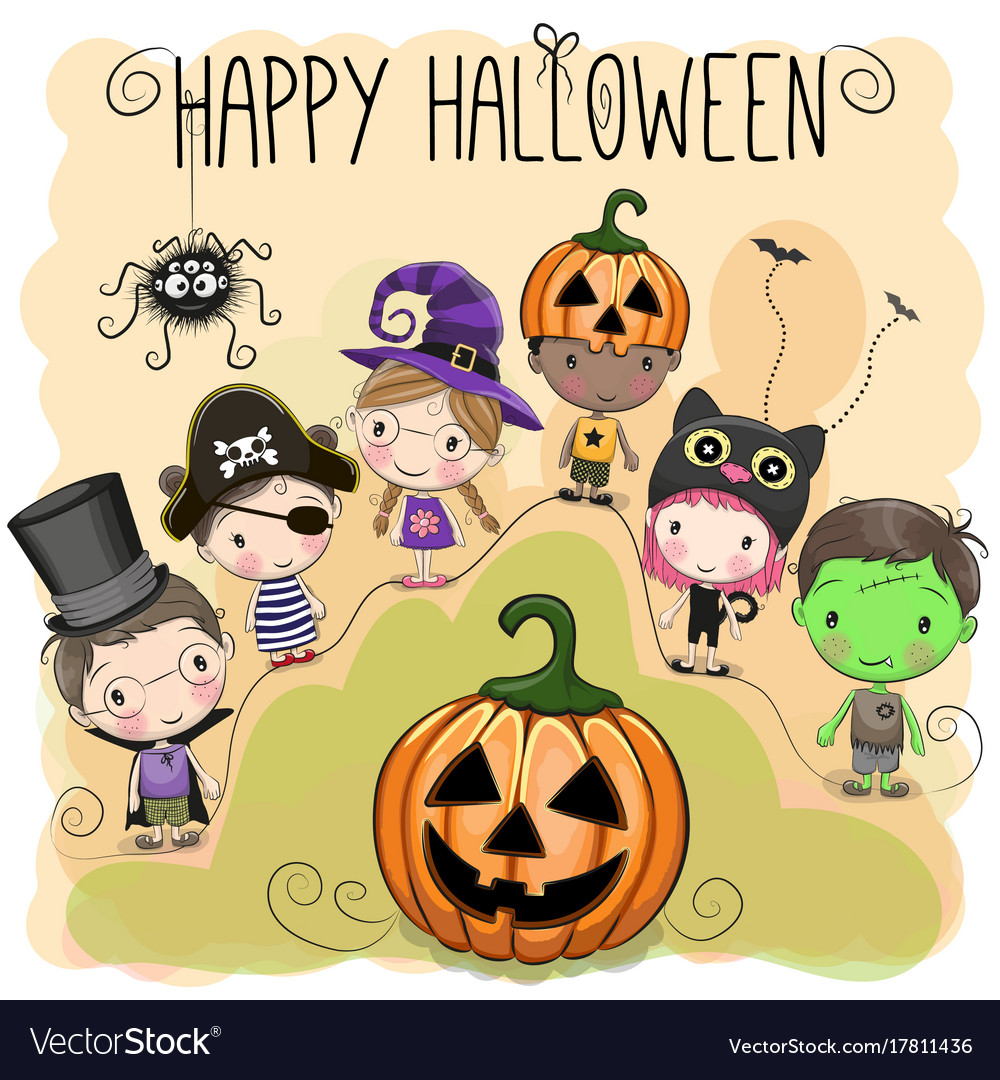Cute halloween with kids Royalty Free Vector Image