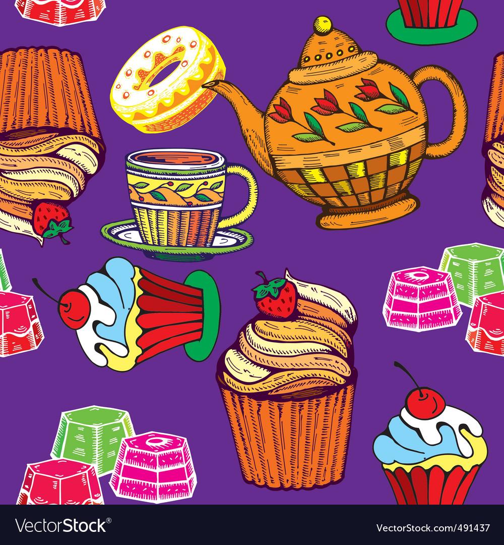 Tea print vector image