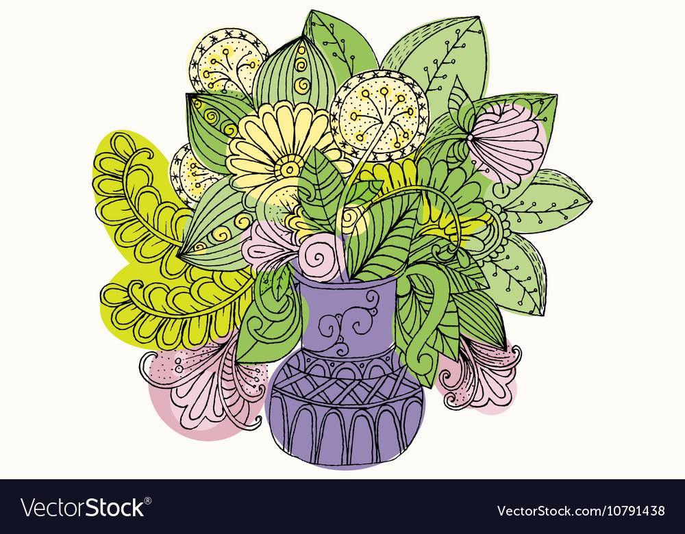 Doodle bouquet of flowers in vase vector image