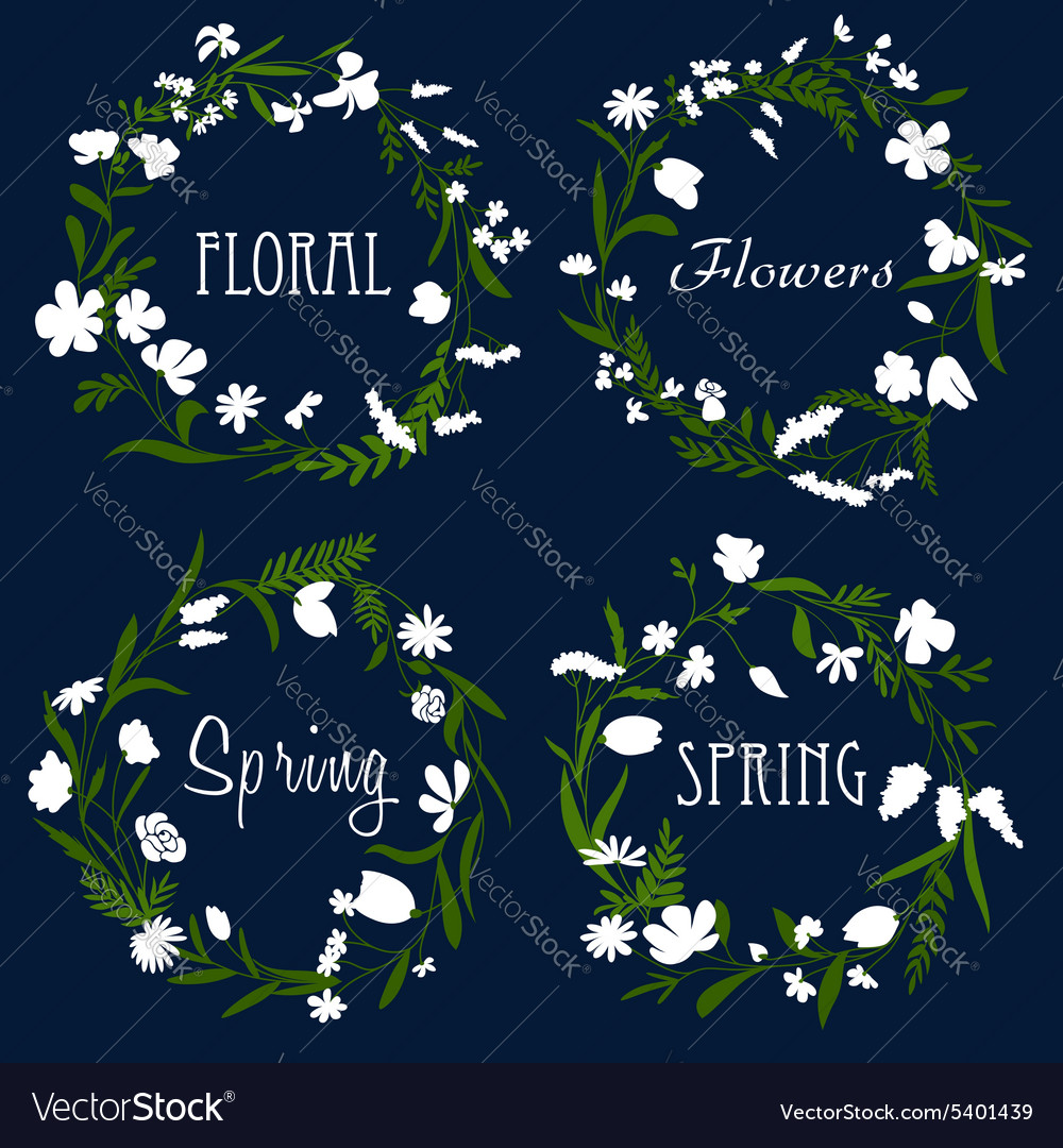 Wreaths with white flowers and herbs vector image