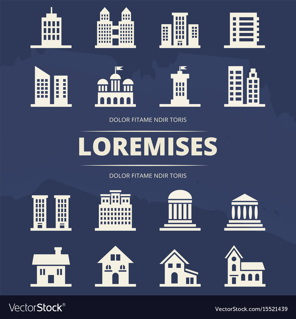Houses icons set on blue background and place for vector image