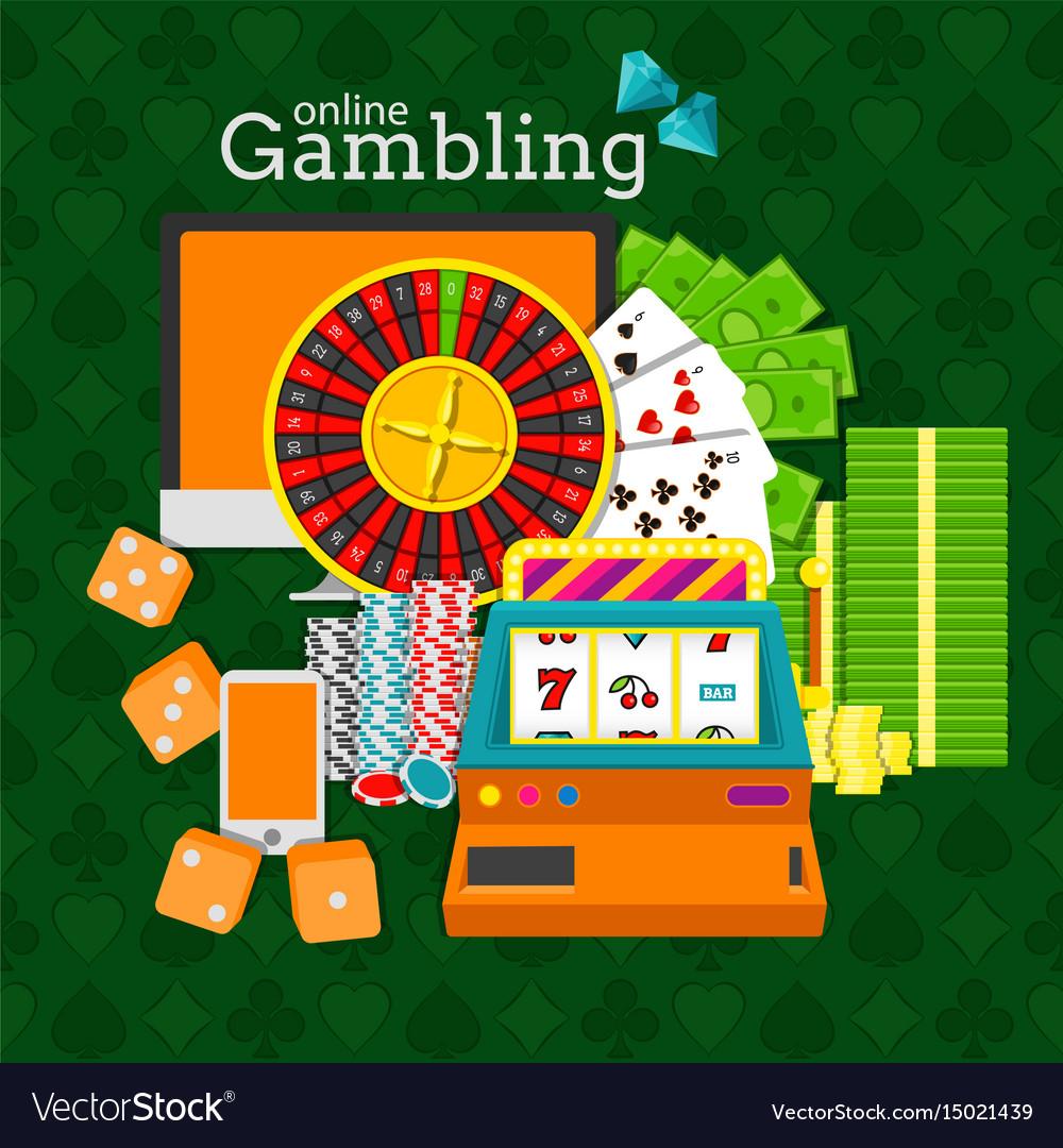 Online gambling slot machine vector image