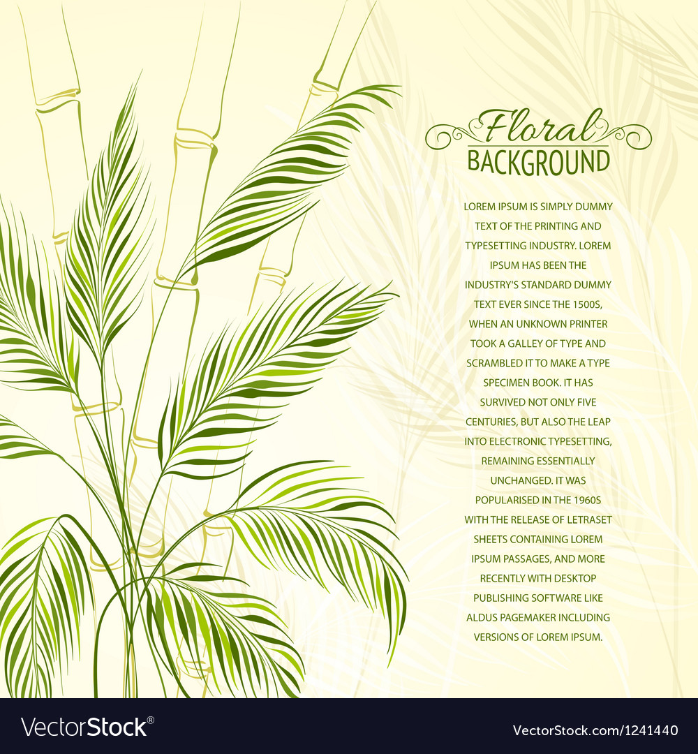 Palm tree over bamboo forest vector image