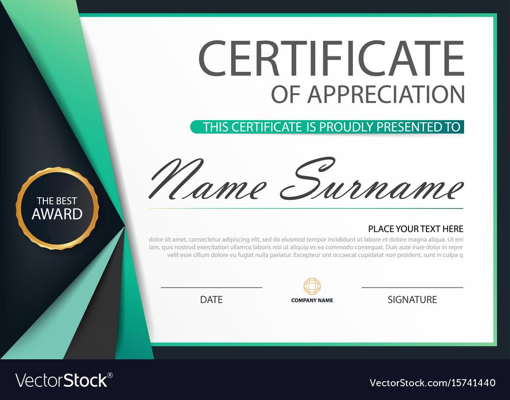 Green label elegance horizontal certificate vector image