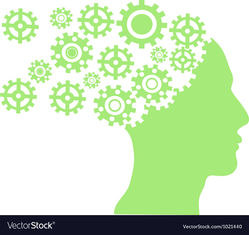 Separating gear wheel from head vector image