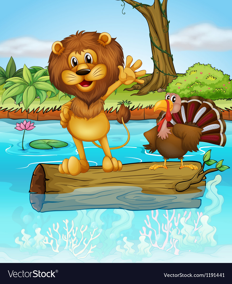 A lion and a turkey above a floating wood vector image