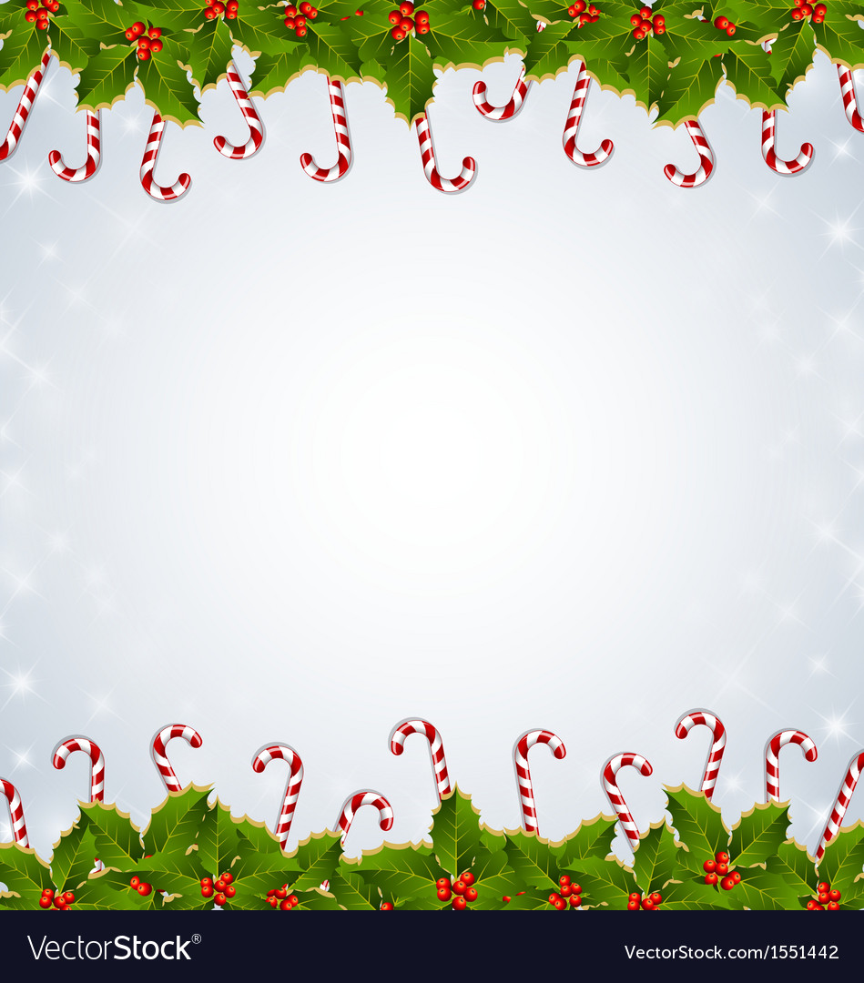 Holly and candy canes Christmas decoration Vector Image