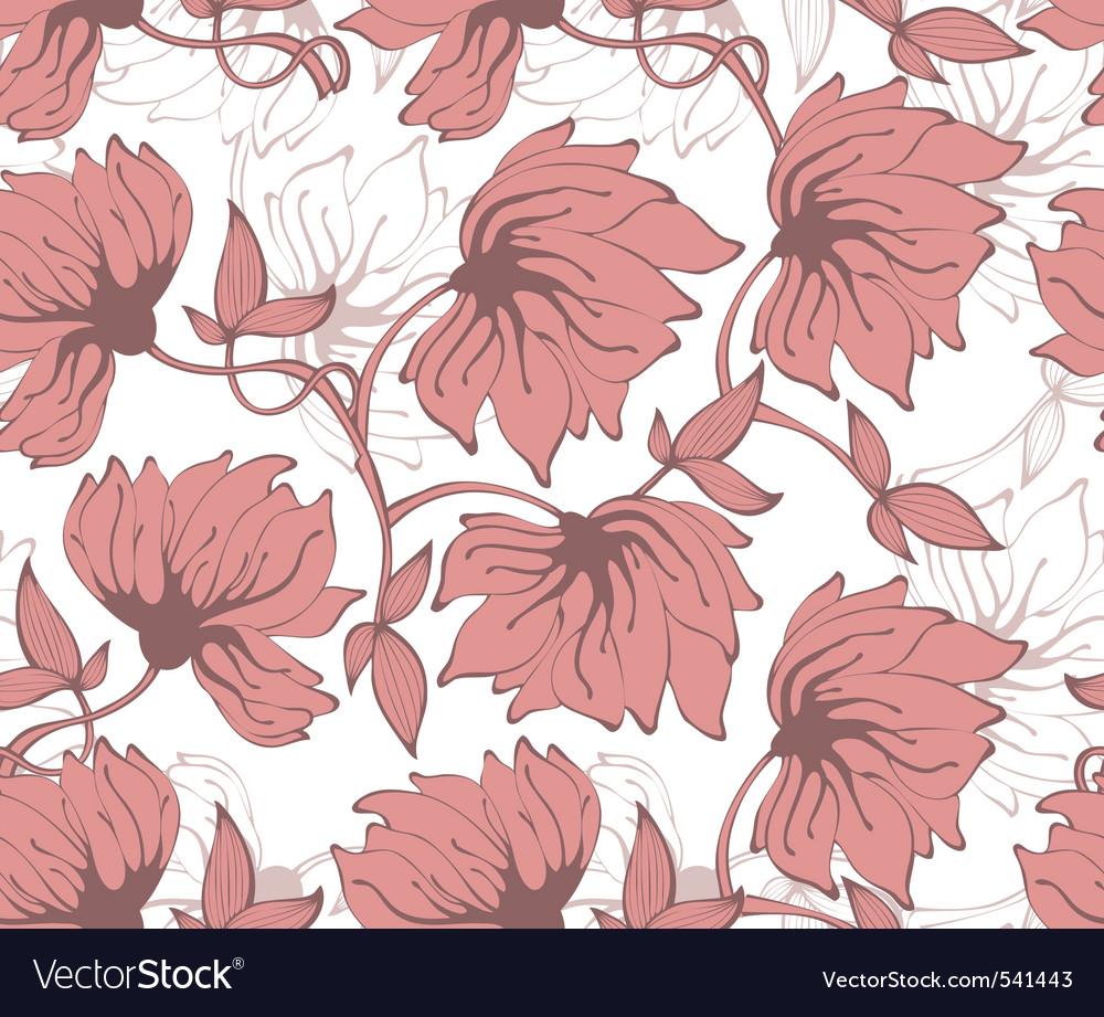 Flower pattern back red vector image