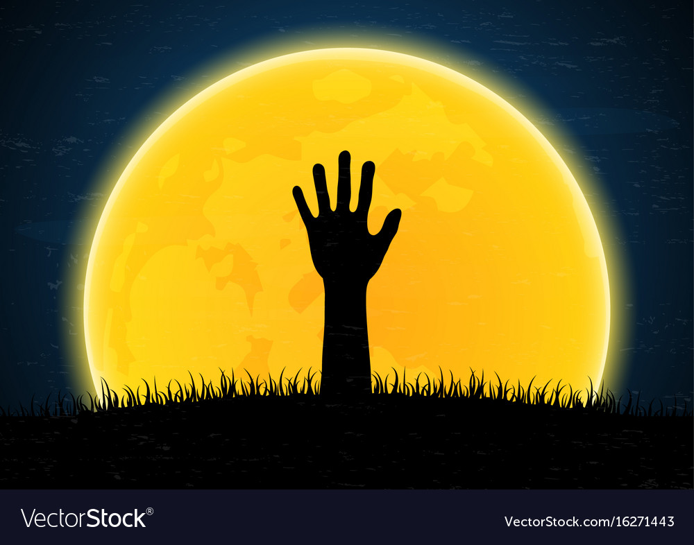 Halloween zombie hand from grave soil vector image