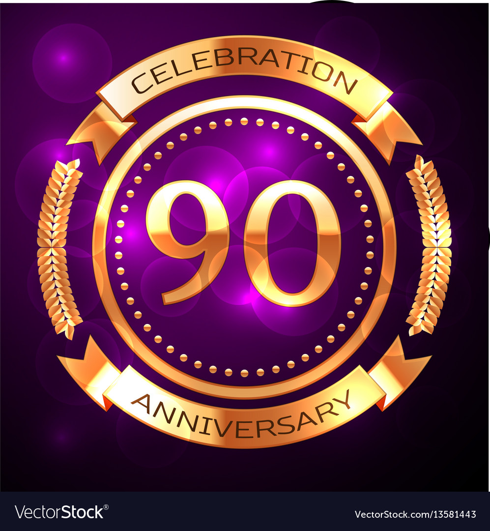 Ninety years anniversary celebration with golden vector image