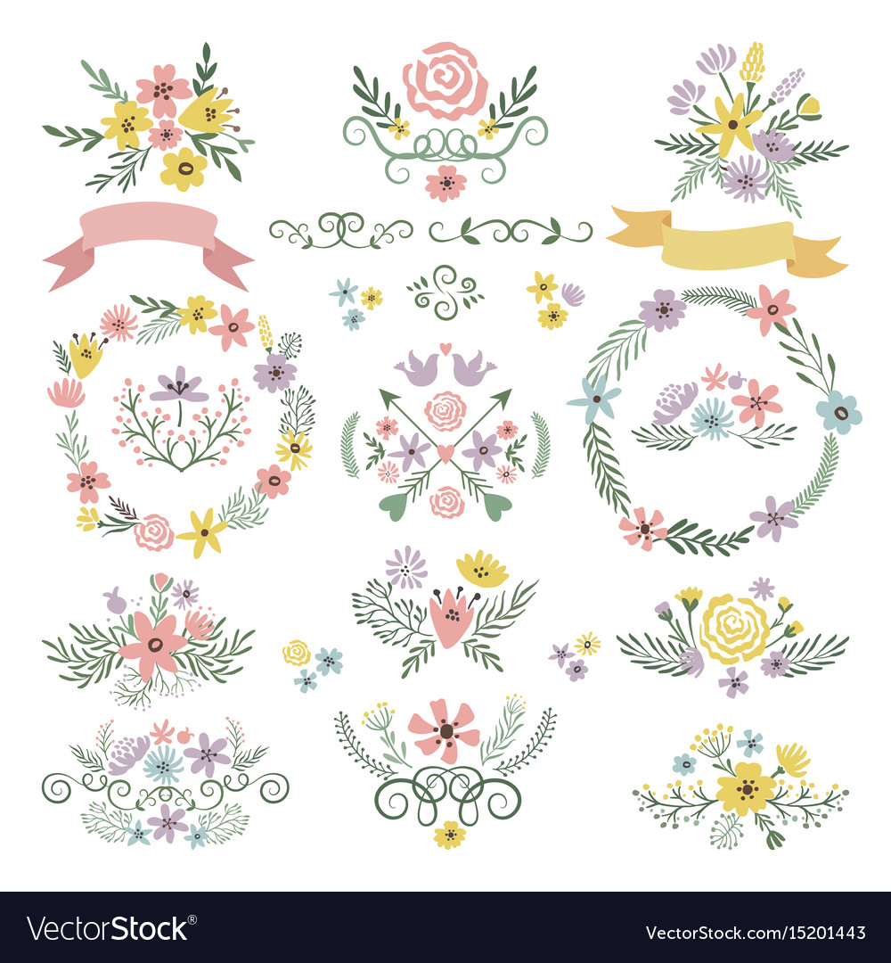 Sweet stickers and vintage labels floral elements vector image