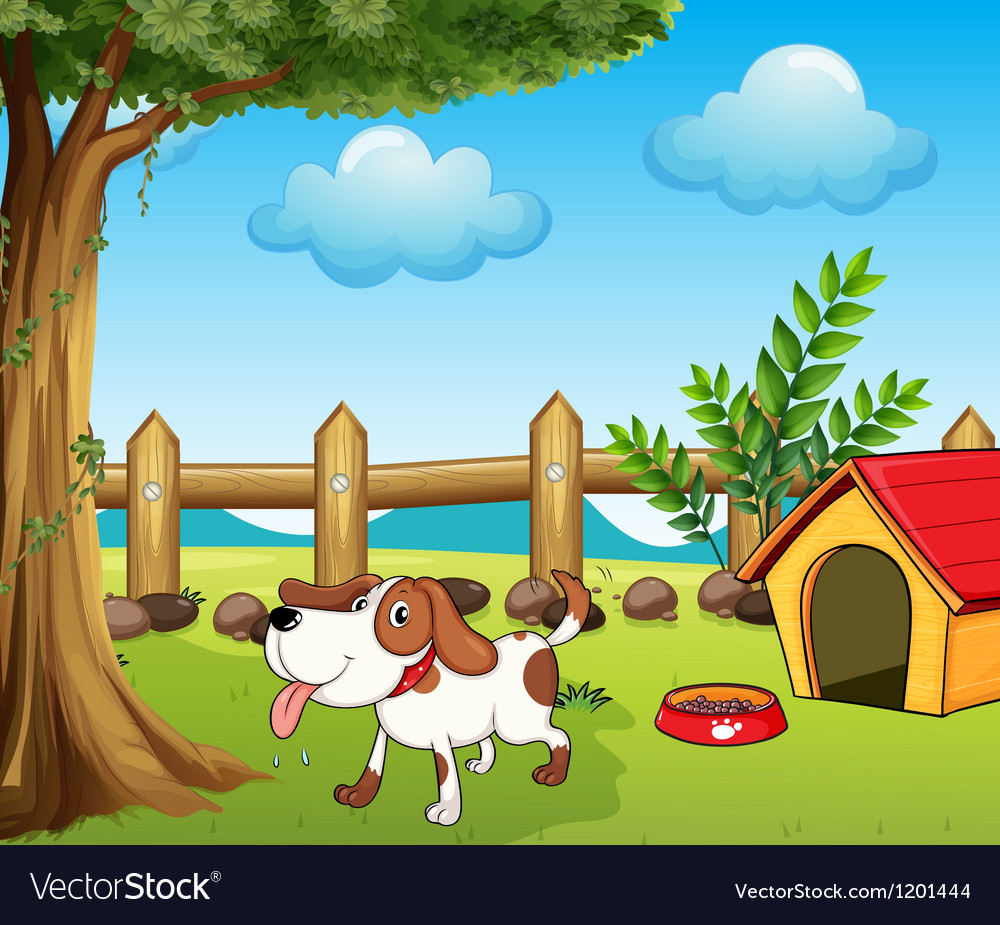 A thirsty dog inside the fence Vector Image