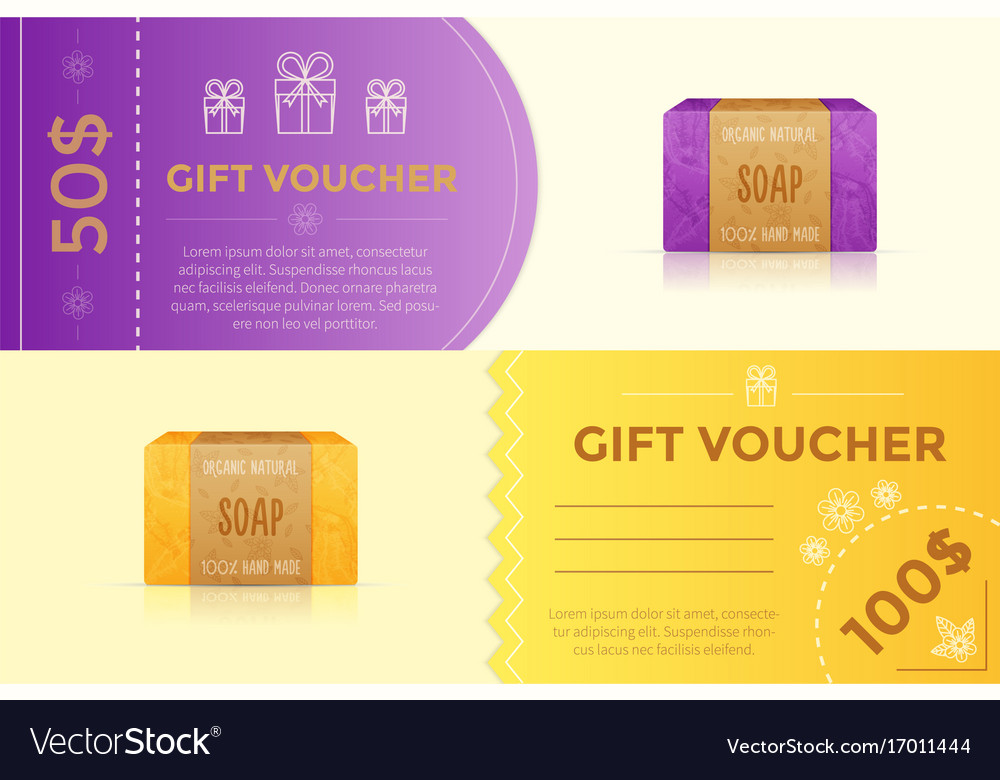 Gift Voucher Template For Handmade Soap Royalty Free Vector