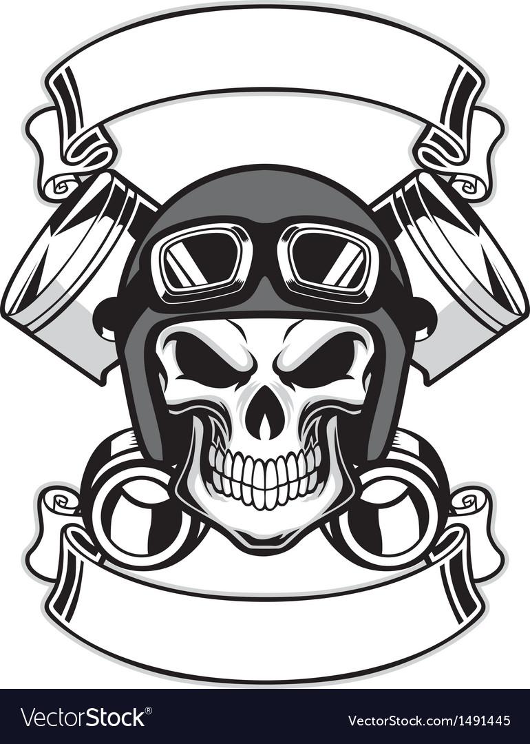 Skull wearing retro motorbike helmet Vector Image