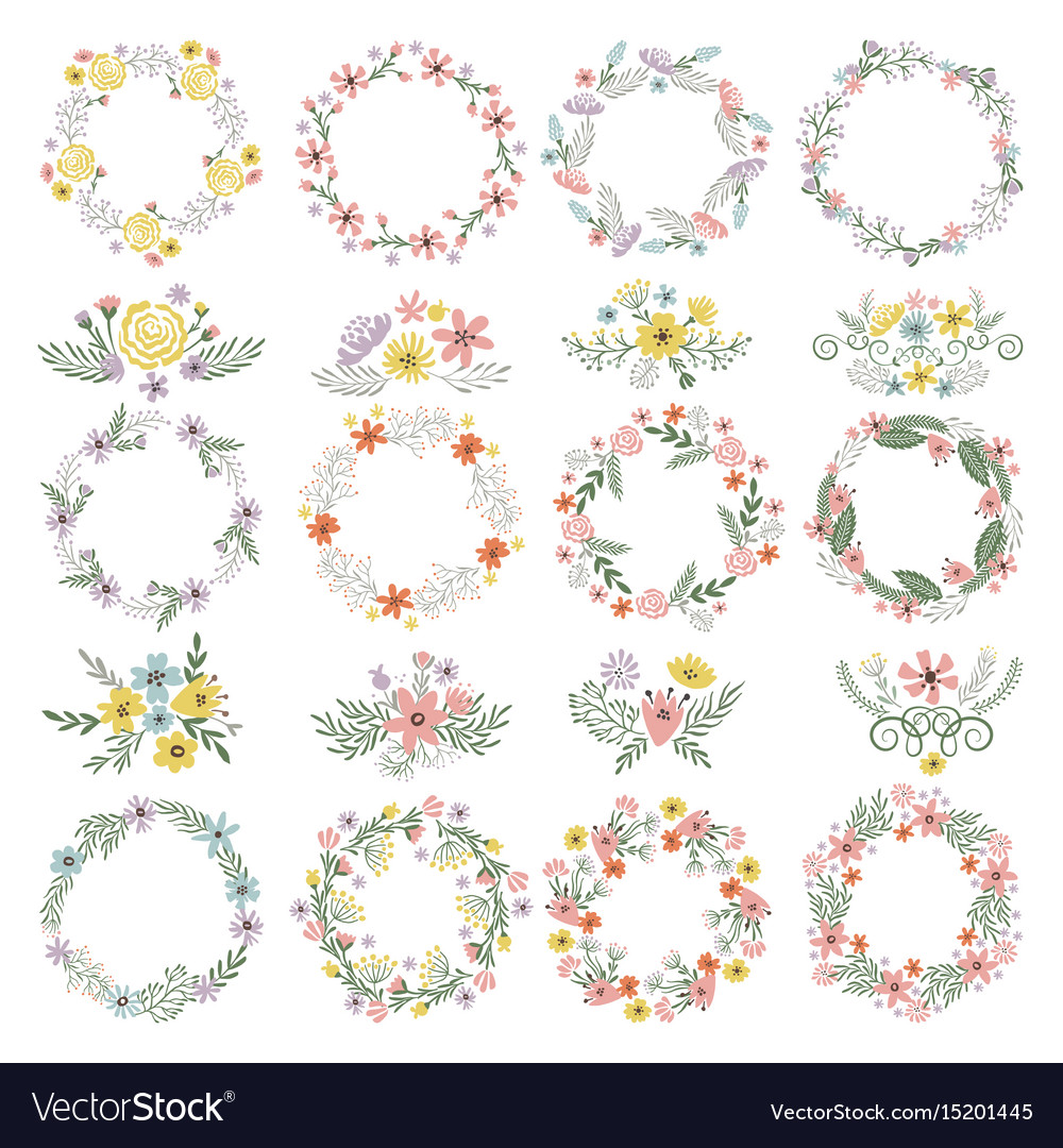 Different circle shapes with floral elements vector image