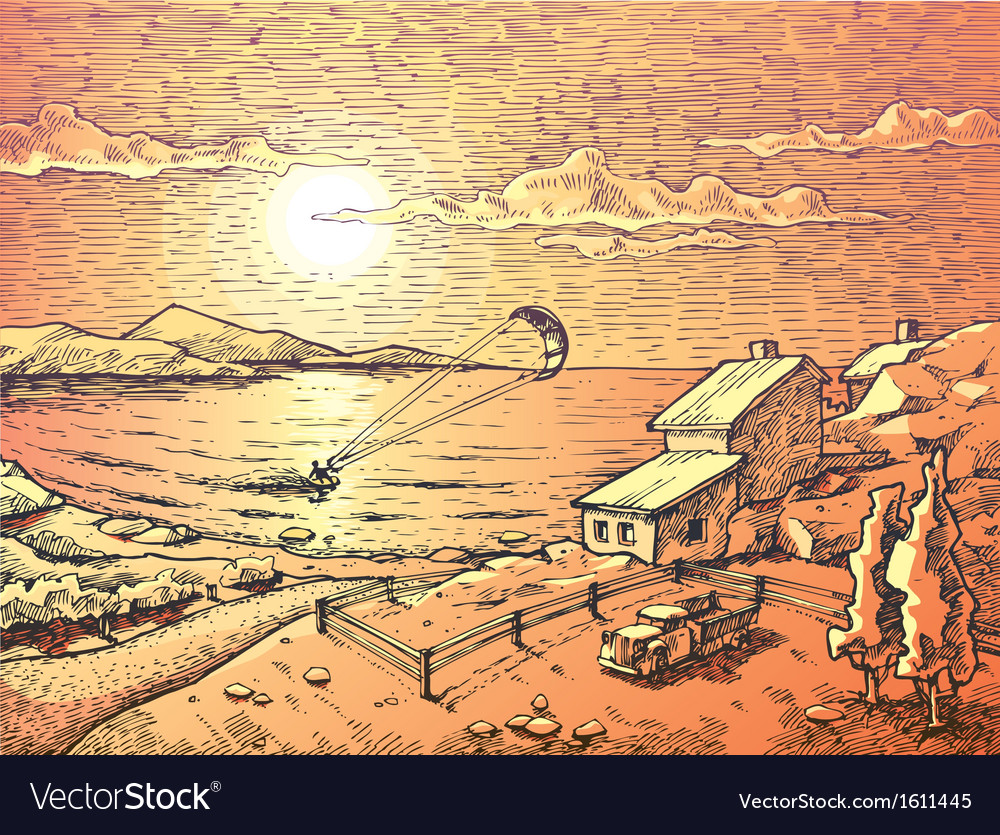 Seacsape with the Kitesurfer vector image