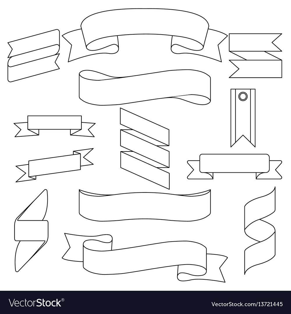 White curved ribbons isolated set vector image
