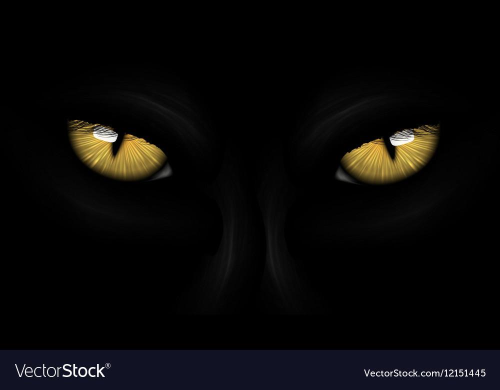 Yellow eyes black Panther vector image