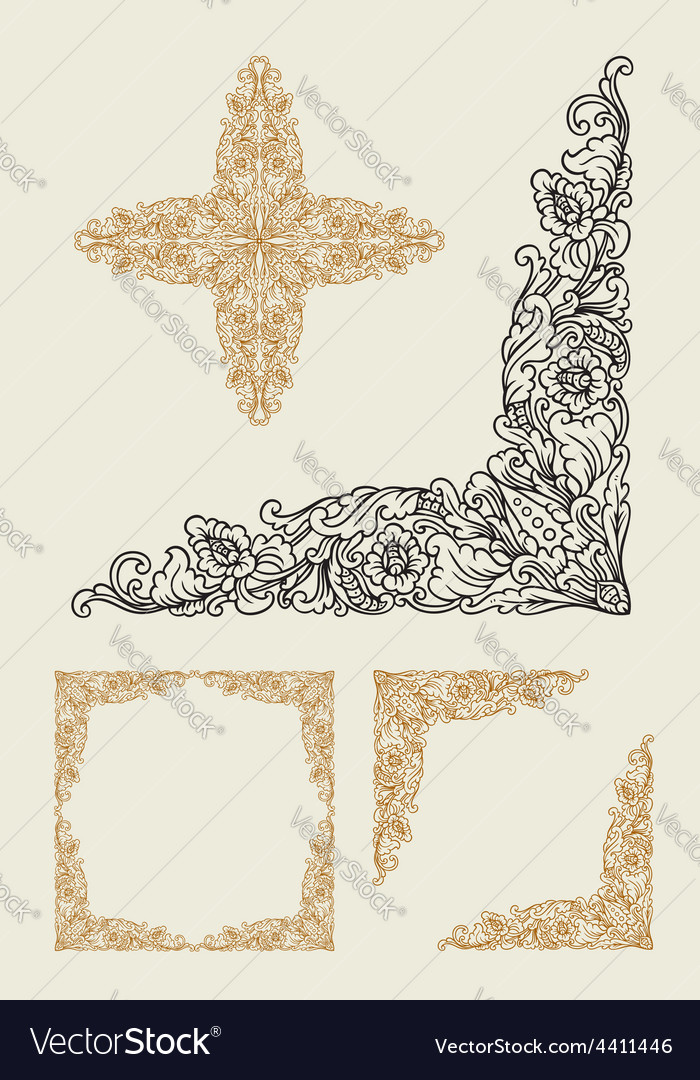 Balinese corner floral ornament decoration vector image