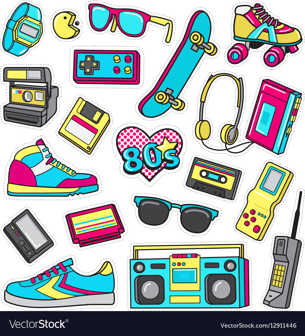 Patch Icons of 80 s On White Limited Background vector image
