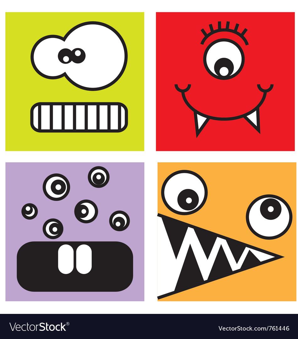 Sticker fun monsters vector image
