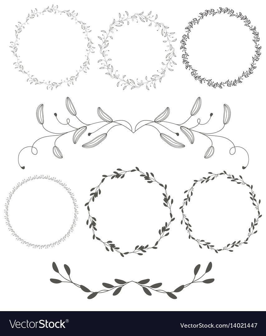 Set of round flourish vintage decorative whorls vector image