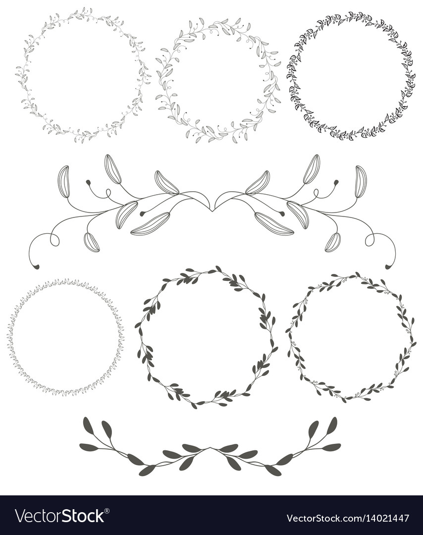 Set of round flourish vintage decorative whorls vector image