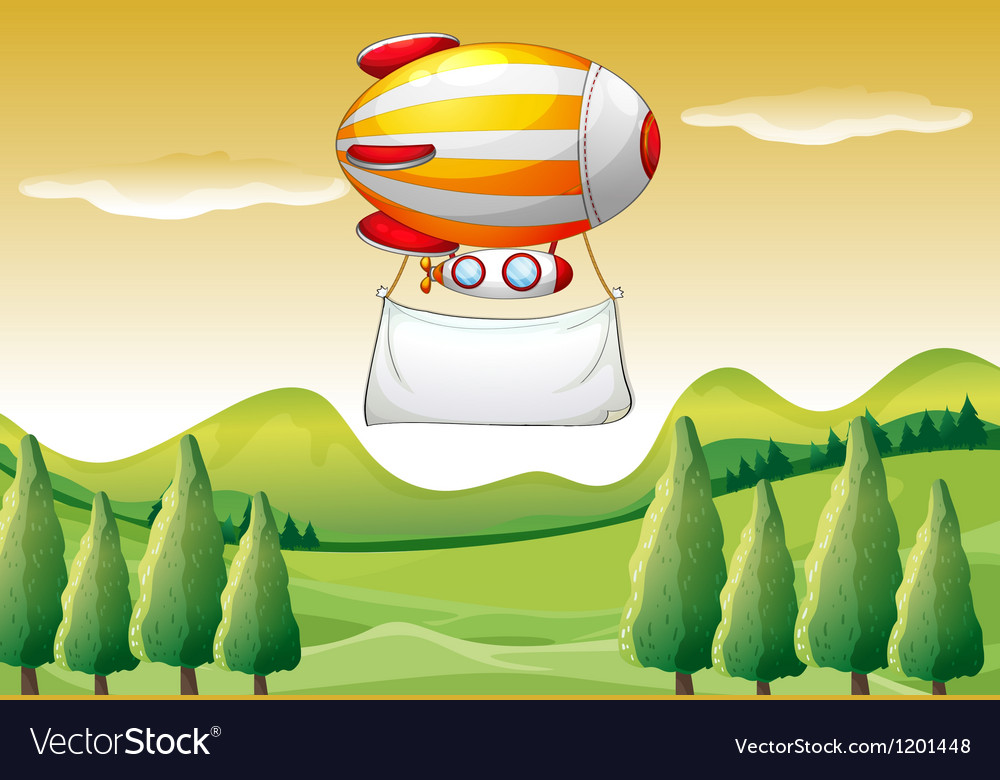 An airship carrying a blank banner vector image