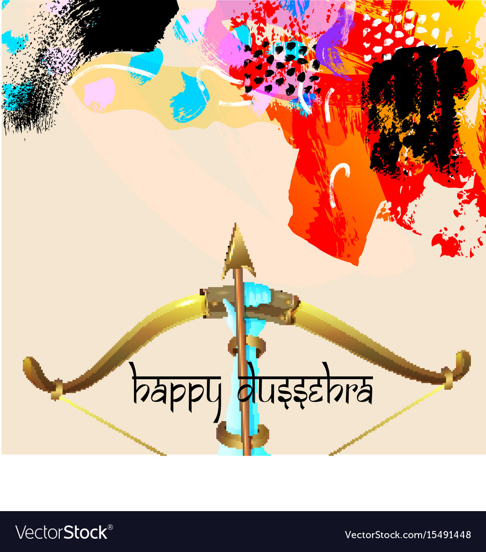 Happy dussehra greeting card with krishna bow vector image