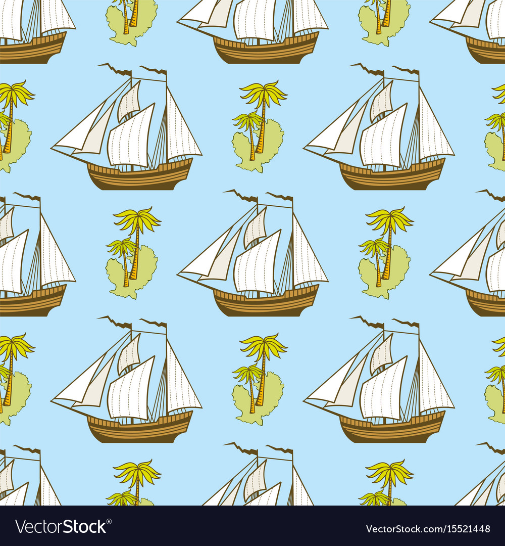 Seamless pattern with ship palms and island vector image