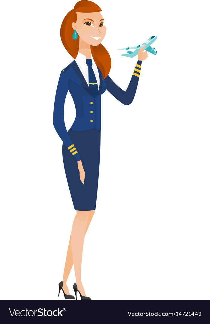 Cheerful stewardess with model of airplane vector image