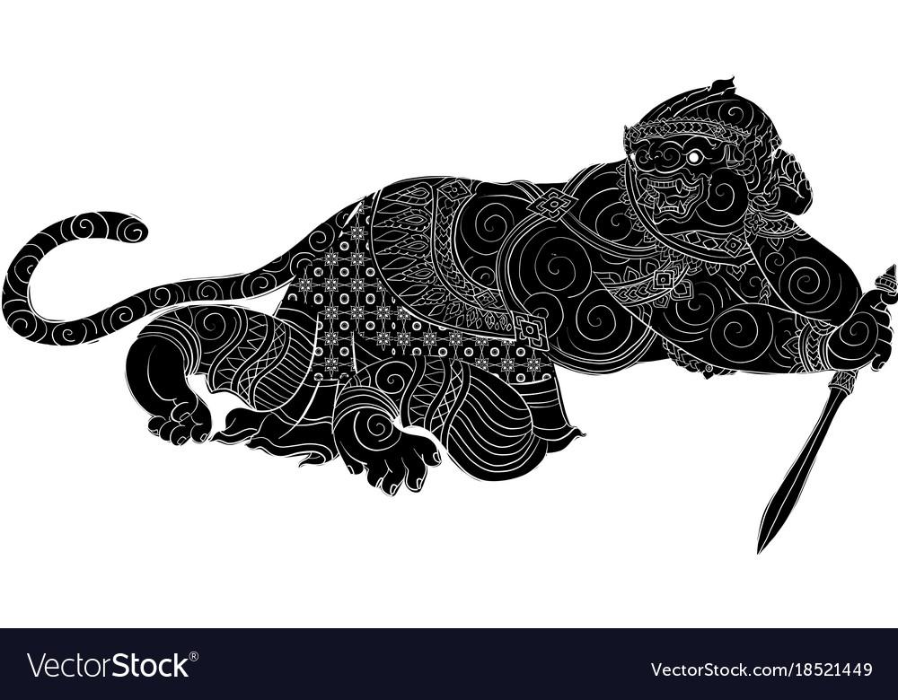 Thai traditional painting hanuman vector image