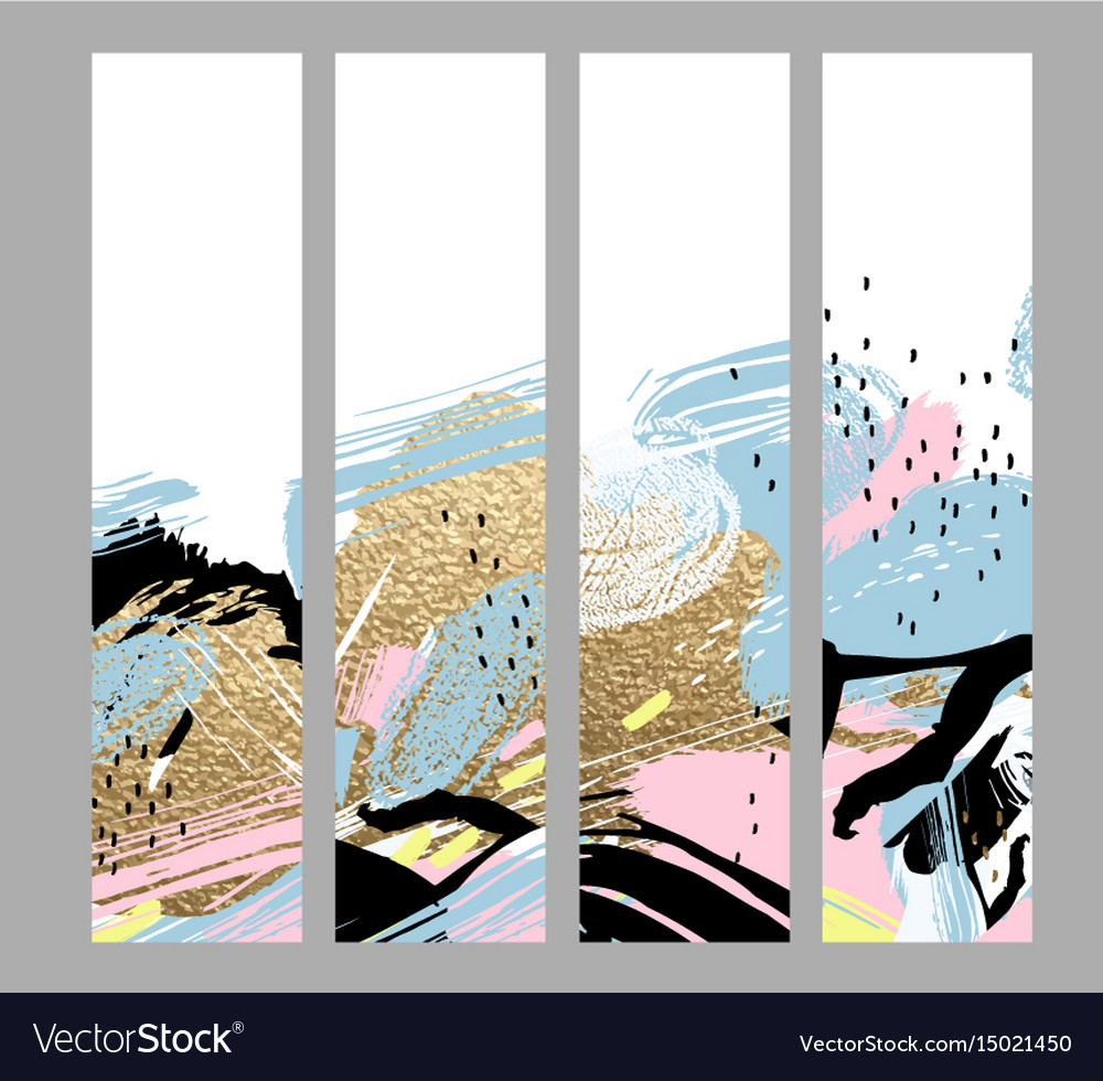 Set of artistic creative four cards with hand vector image
