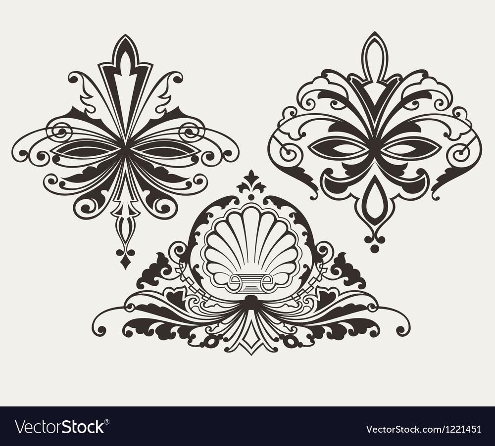 Set Of Three Original Retro Design Elements vector image