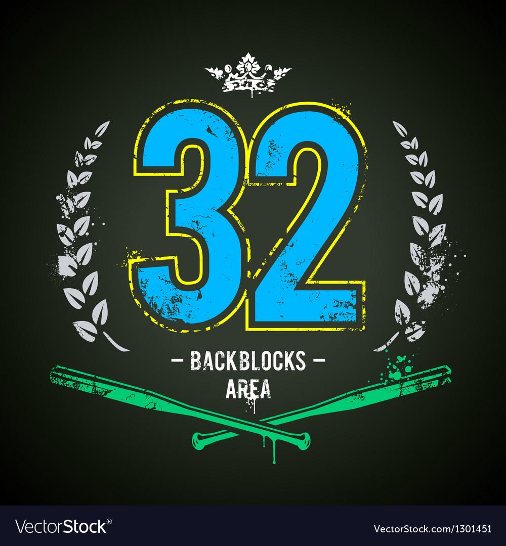 Grunge 32 Number vector image