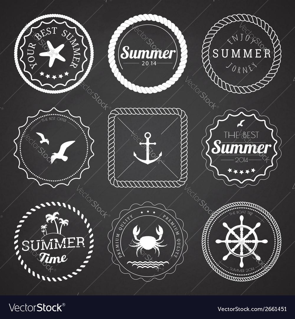 Set of 9 circle summer frames borders vector image