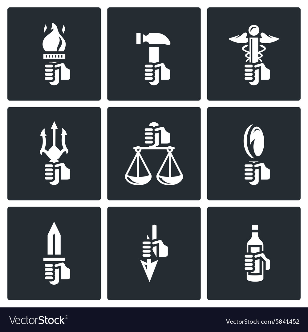 symbols of the gods in greek mythology icons set vector image
