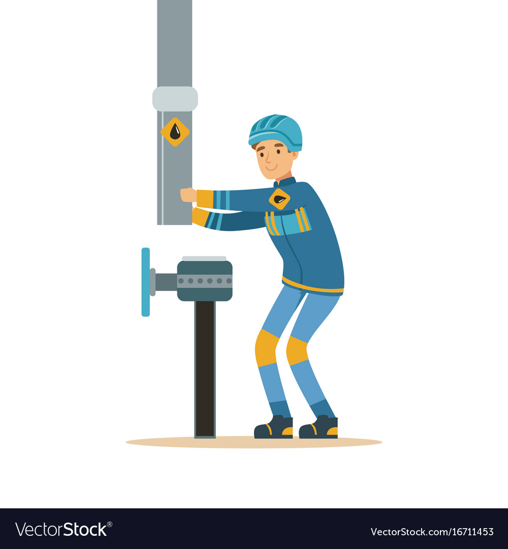 Builder worker fixing and joining industrial oil vector image
