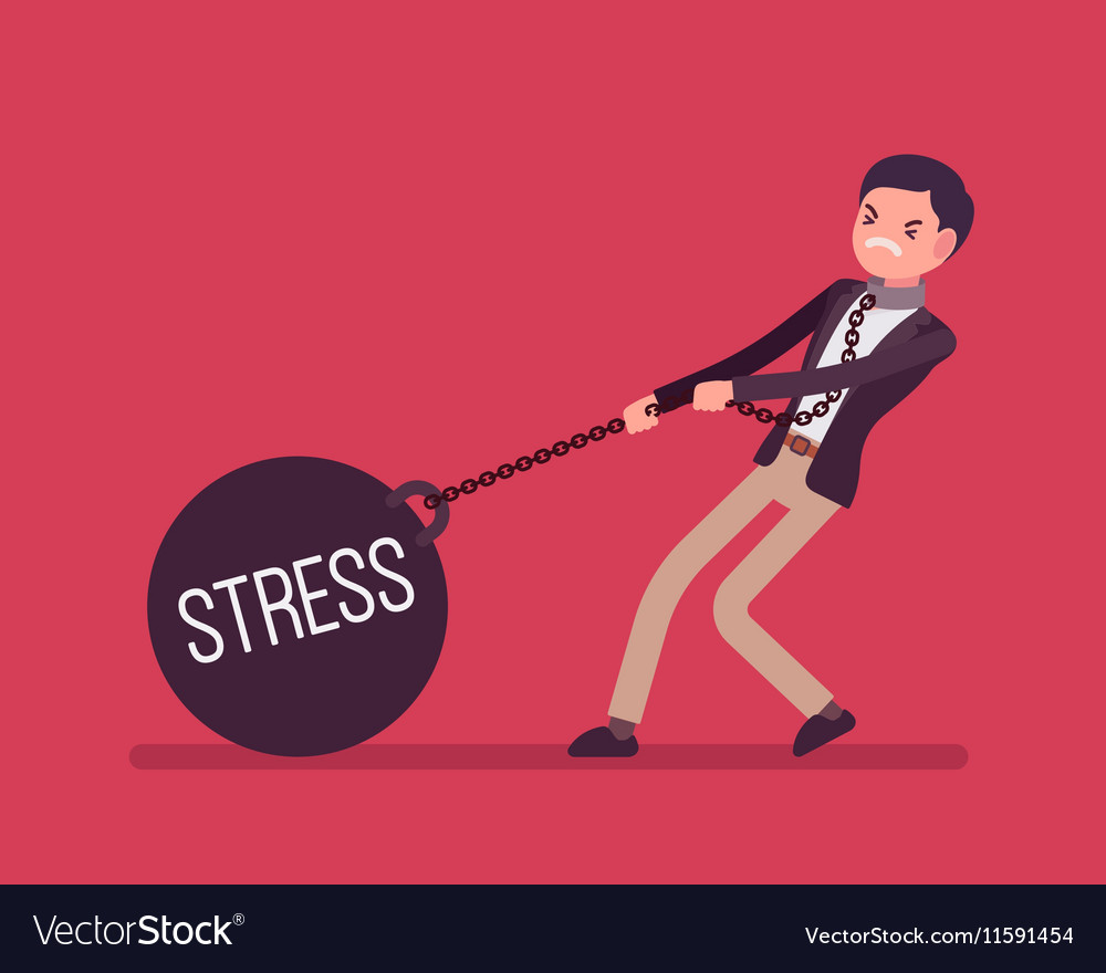 Businessman dragging a weight Stress on chain vector image