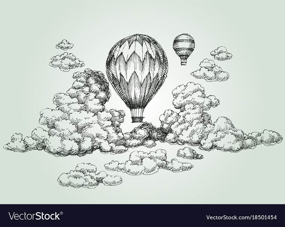 Hot air balloon drawing vector image