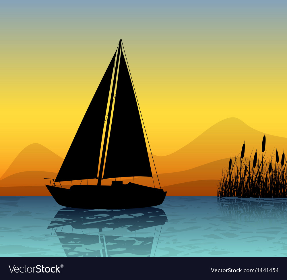 Sailing boat silhouette on a lake vector image
