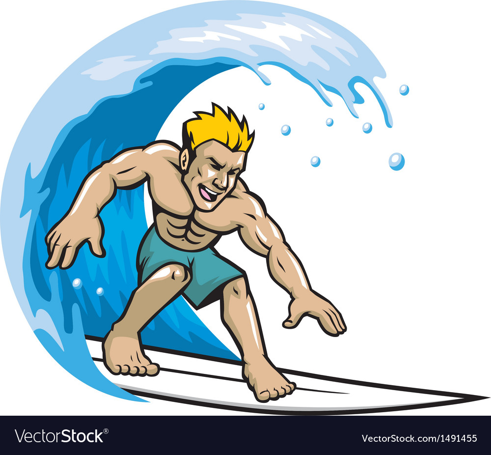 Surfer enjoying the wave vector image